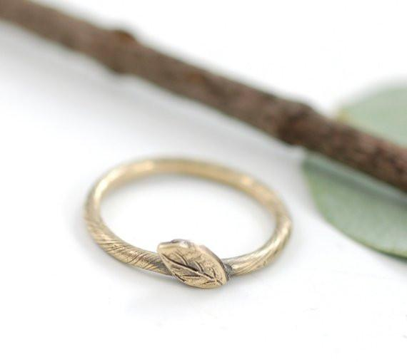 Vine and Leaf Engagement Ring or Wedding Band in 14k Yellow Gold - Made to Order - Beth Cyr Handmade Jewelry