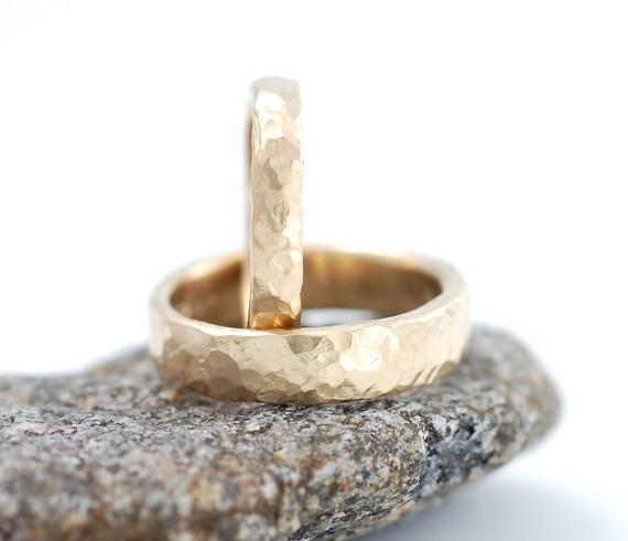 Love Rocks Hammered Wedding Rings in Yellow Gold - Made to order - Beth Cyr Handmade Jewelry