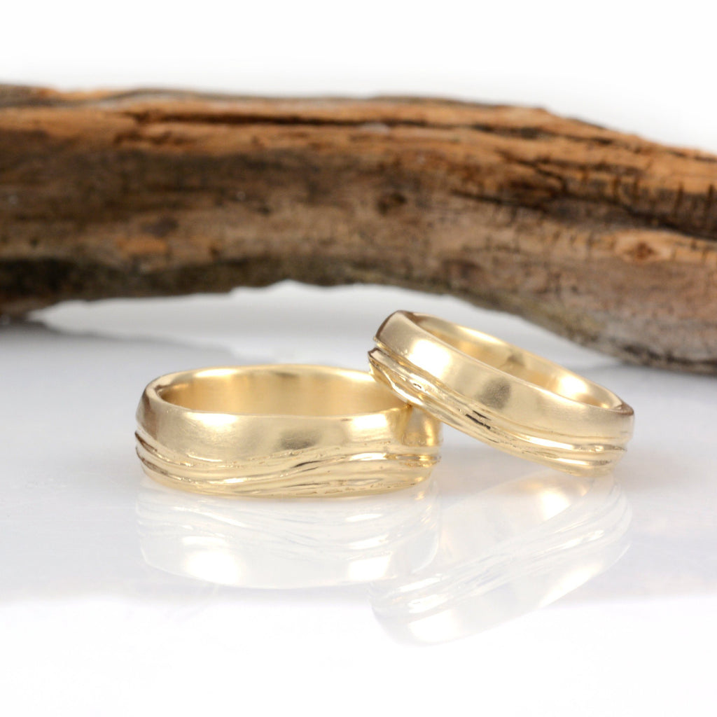 Sea and Sky Wedding Rings in Yellow Gold - Made to Order - Beth Cyr Handmade Jewelry
