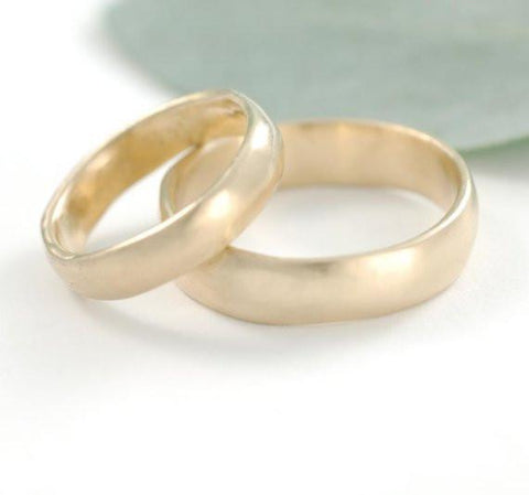Simplicity Wedding Rings in Yellow Gold - Made to Order - Beth Cyr Handmade Jewelry