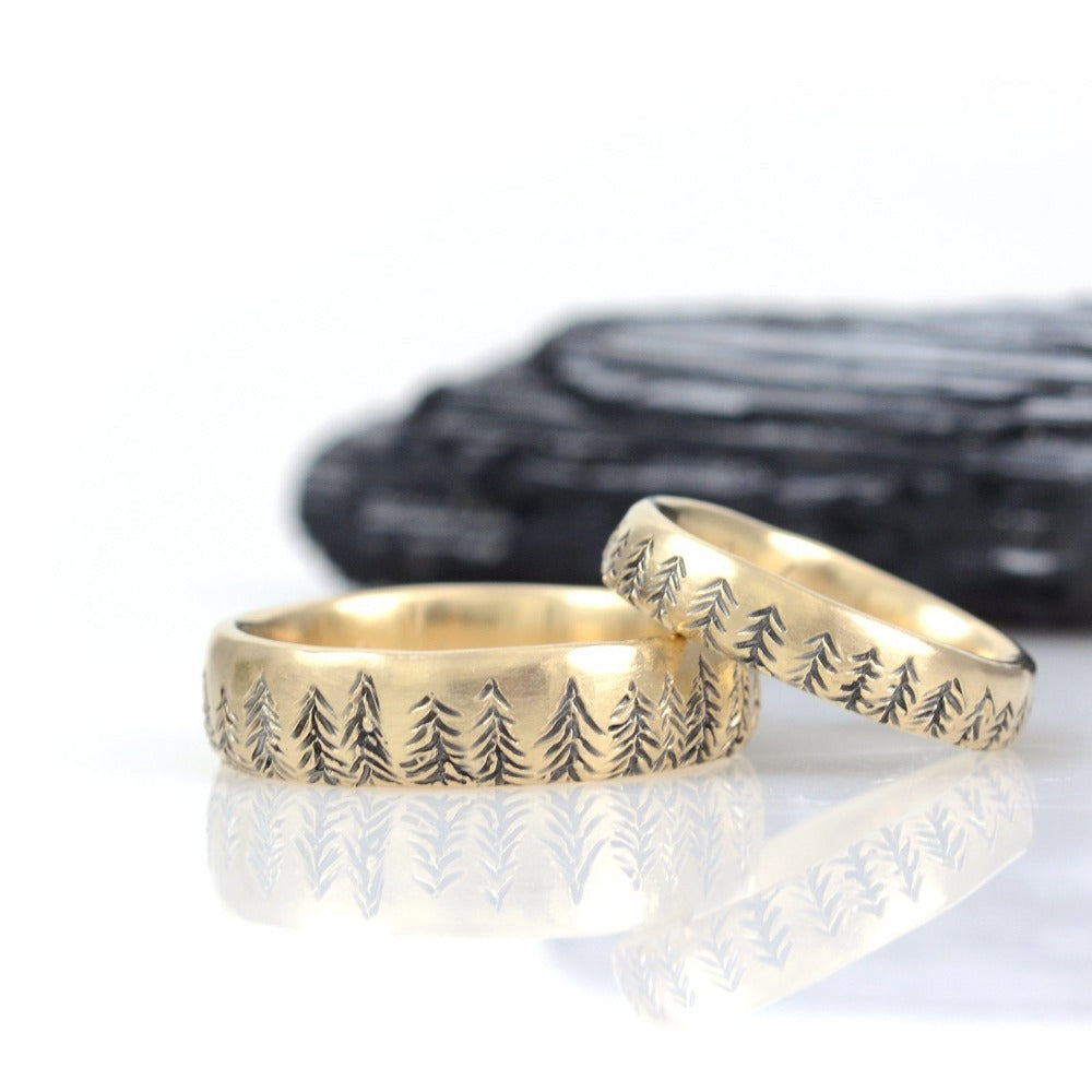 Tree Line Wedding Rings in Yellow Gold - Made to Order - Beth Cyr Handmade Jewelry