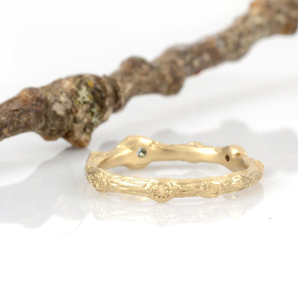 Custom Twig Ring with Aquamarine and Sapphire - Beth Cyr Handmade Jewelry