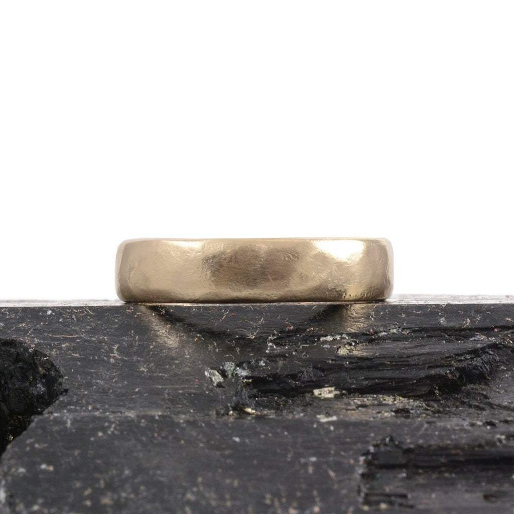 Worn Texture Wedding Rings in Yellow Gold - Made to Order