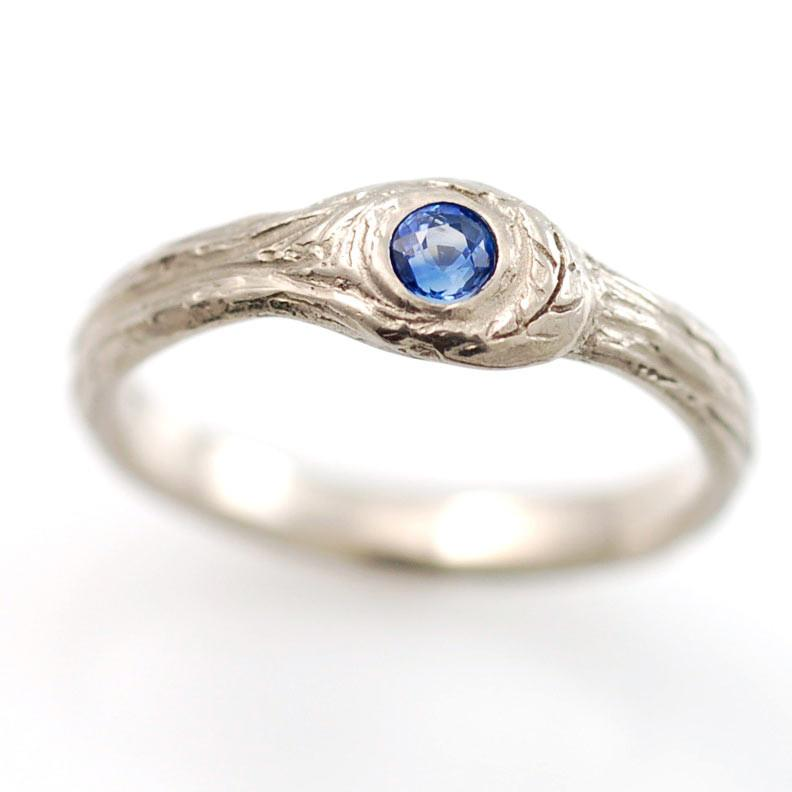 Custom Blue Sapphire in Palladium White Gold Tree Bark Ring with Leaf - nature inspired rings by Beth Cyr
