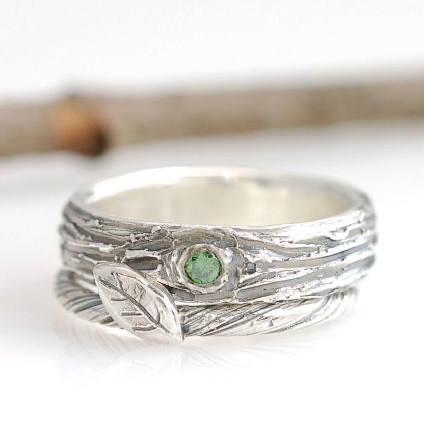Custom wedding and engagement ring - palladium sterling silver tree bark and vine ring with green diamond - nature inspired rings by Beth Cyr