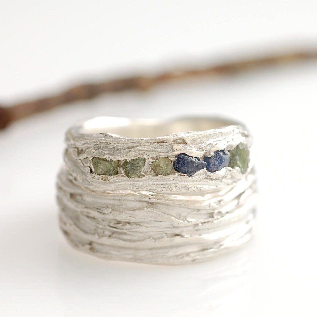 Custom rough Sapphire and Palladium Sterling Silver Redwoods Texture Wedding Rings - nature inspired wedding rings by Beth Cyr