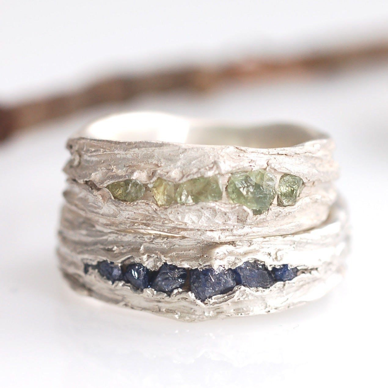 Custom rough Sapphire and Redwoods texture wedding rings in palladium sterling silver - nature inspired wedding rings by Beth Cyr