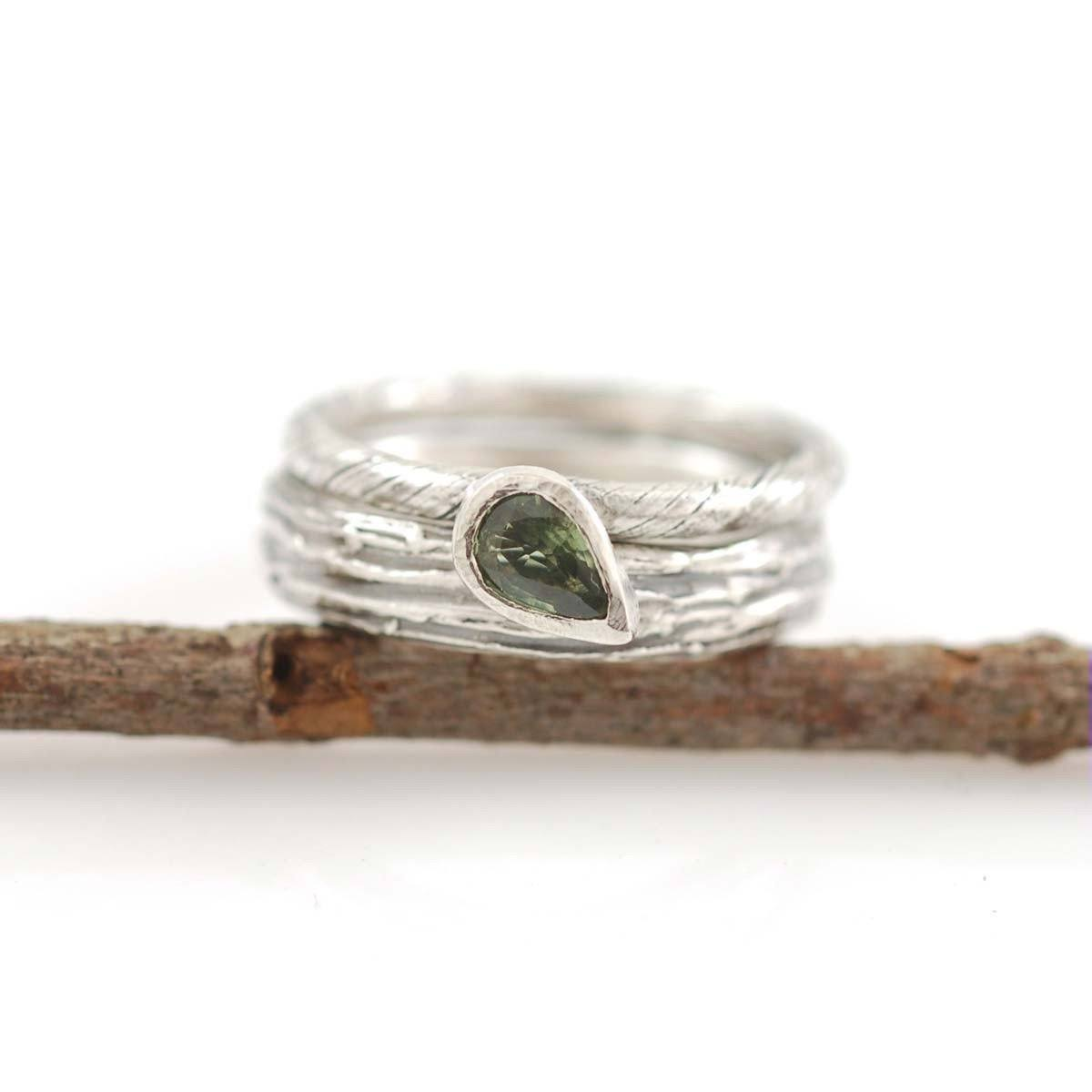 Custom Palladium Sterling Silver Vine Engagement Ring with green sapphire and Tree Bark Wedding Band - nature inspired rings by Beth Cyr