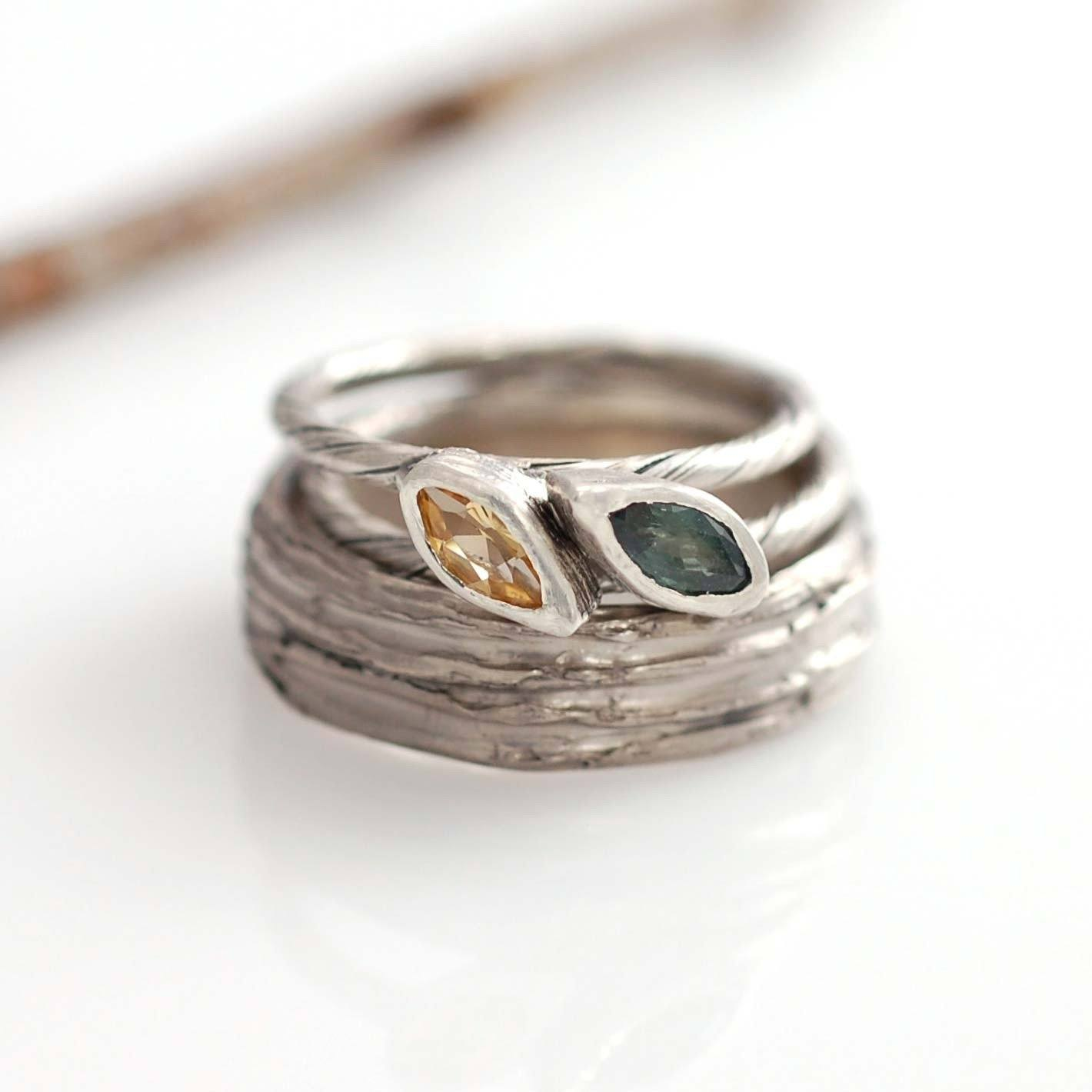 Custom Citrine and Green Sapphire Leaf Engagement Rings in Palladium White Gold - nature inspired rings by Beth Cyr
