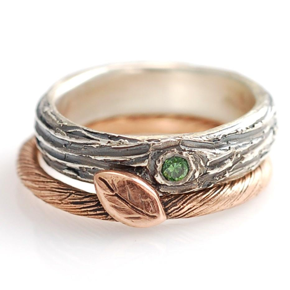 Rose Gold Vine and Leaf ring with palladium sterling silver tree bark ring with green diamond wedding ring by artisan jeweler Beth Cyr