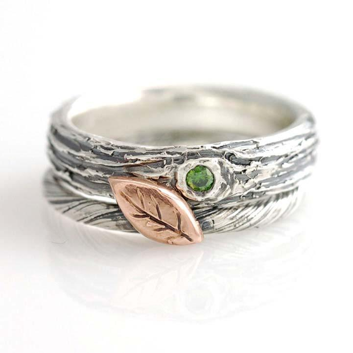 Custom Green Diamond and Tree bark in sterling silver with rose gold vine and leaf ring by artisan jeweler Beth Cyr