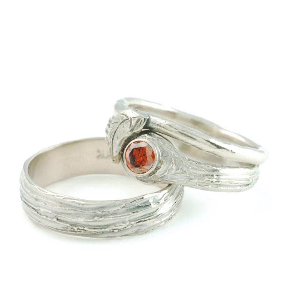 Custom 14k Palladium White Gold Tree Bark Wedding Rings with orange diamond and vine and leaf ring by artisan jeweler Beth Cyr