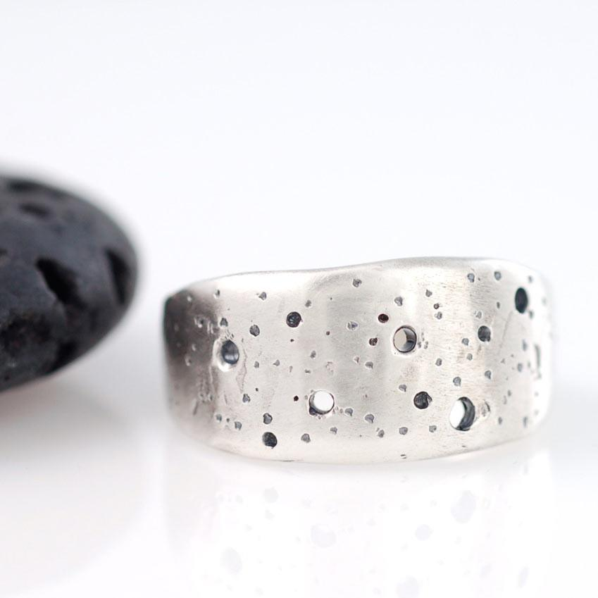 Custom Cassiopeia constellation ring in palladium sterling silver - cosmic jewelry by artisan jeweler Beth Cyr