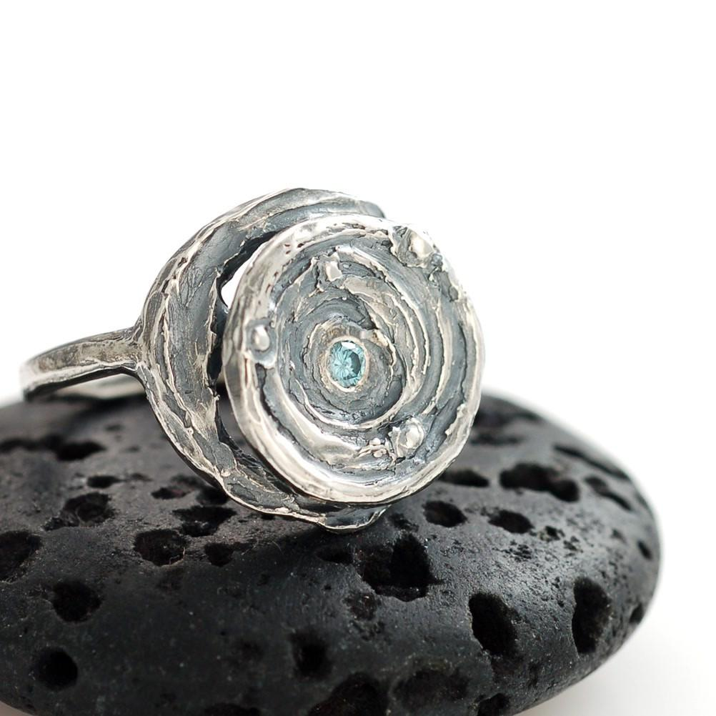 Round galaxy ring with blue diamond center in palladium sterling silver - cosmic jewelry by Beth Cyr