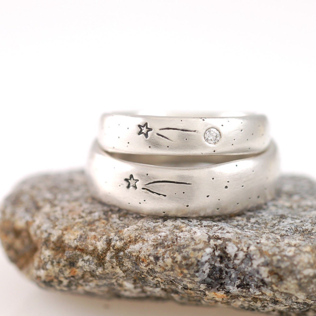 Wish Upon A Star Rings in Palladium Sterling Silver with diamond - cosmic jewelry by Beth Cyr