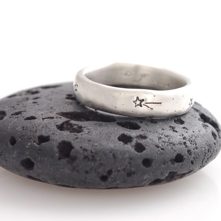 Wish Upon A Star Ring in Palladium Sterling Silver with multiple stars - cosmic jewelry by Beth Cyr