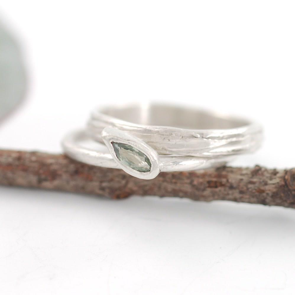 Green Sapphire in palladium sterling silver vine and leaf and tree bark rings - nature inspired wedding rings by Beth Cyr
