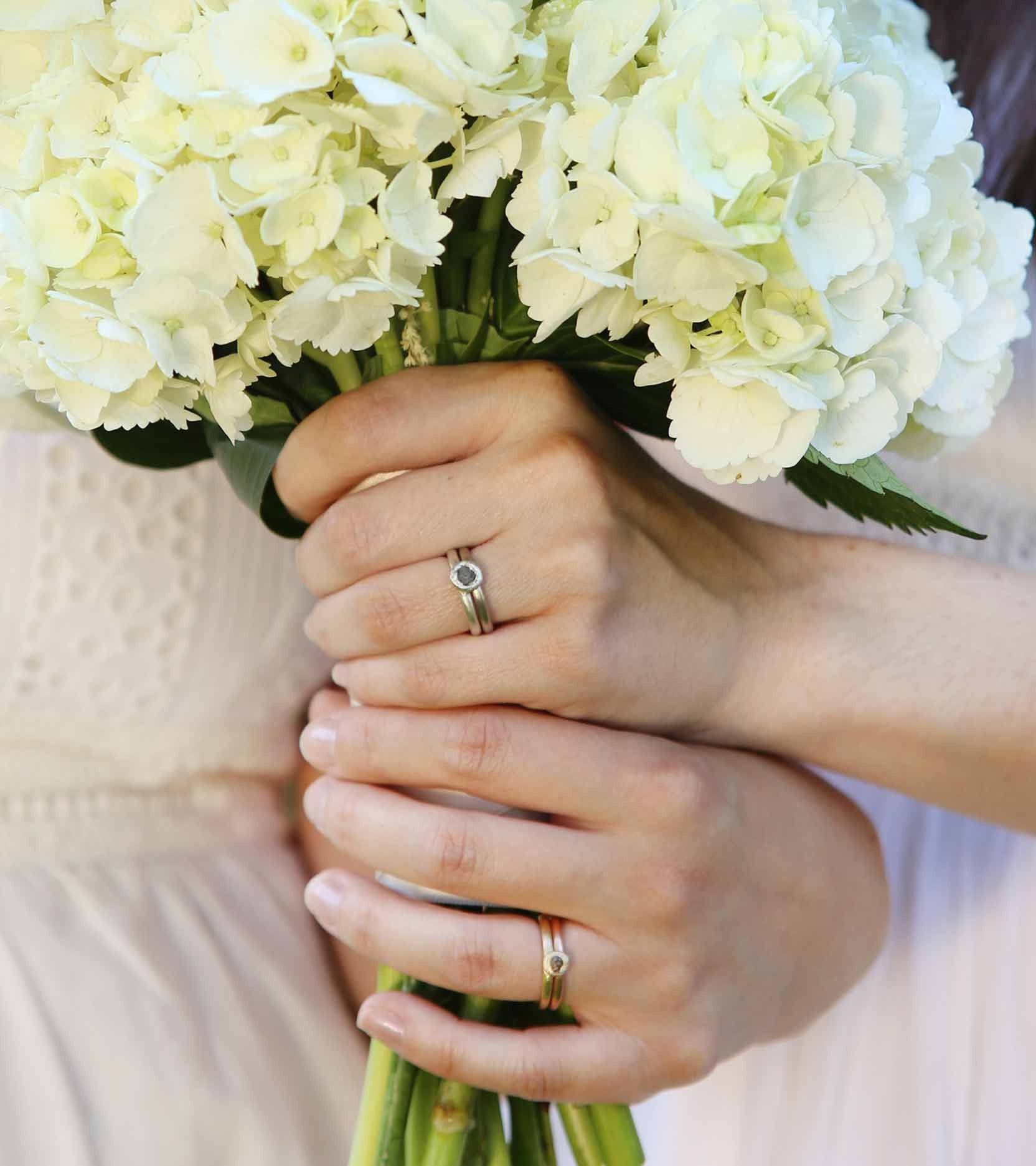 Engagement Ring and Wedding band Sets in Mixed Metals in the simplicity style with rough diamonds by beth cyr