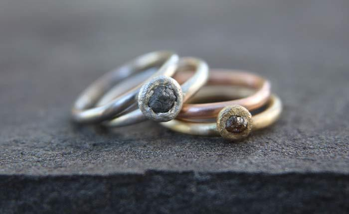 Mixed Metal Simplicity Rings with Rough Diamonds in Gold and Silver Alloys handmade by Beth cyr