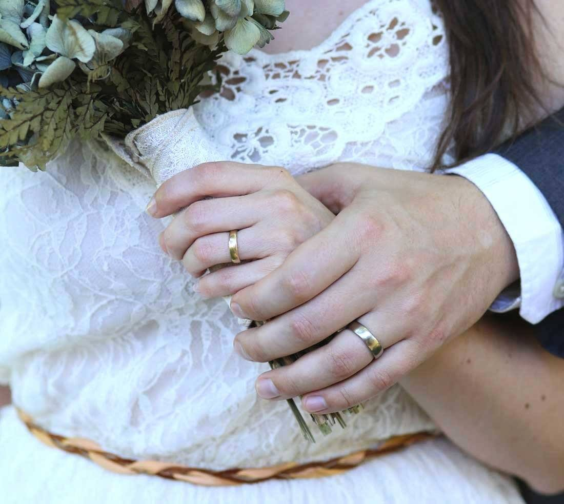 Handmade Simple wedding rings by beth cyr in the simplicity style in gold alloys