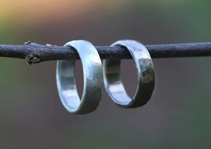 Handmade worn and hammered texture bands by artist beth cyr