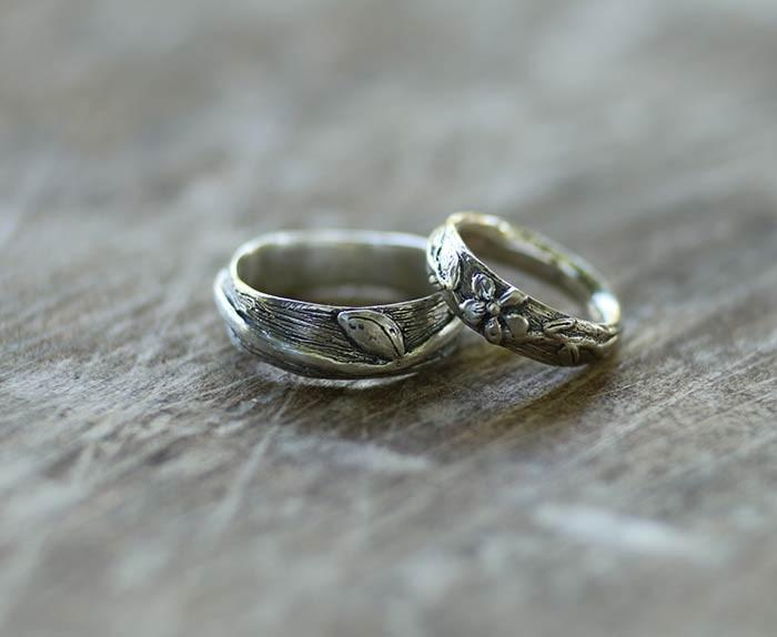 Winding Vine and Leaf Ring, Women's with Flower in Palladium Sterling Silver handmade by Beth Cyr