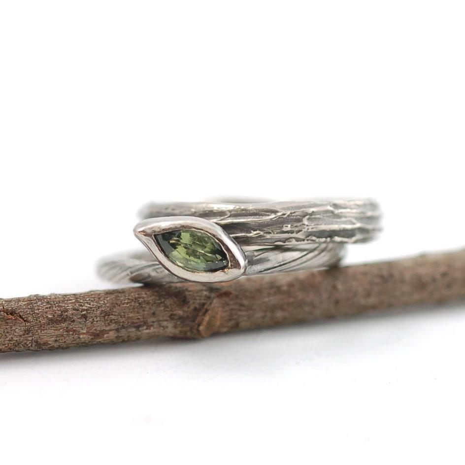 Green Sapphire and Palladium White gold vine and leaf and tree bark rings - nature inspired rings by Beth Cyr