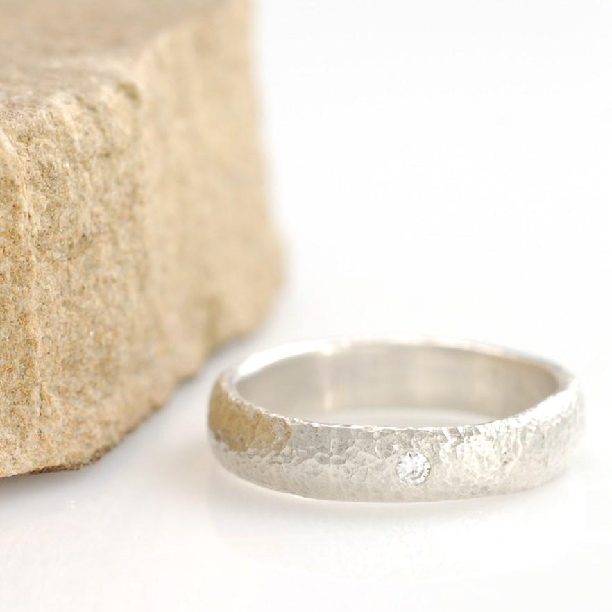 Sands Texture in palladium sterling silver with diamond - beach and nature rings by Beth Cyr