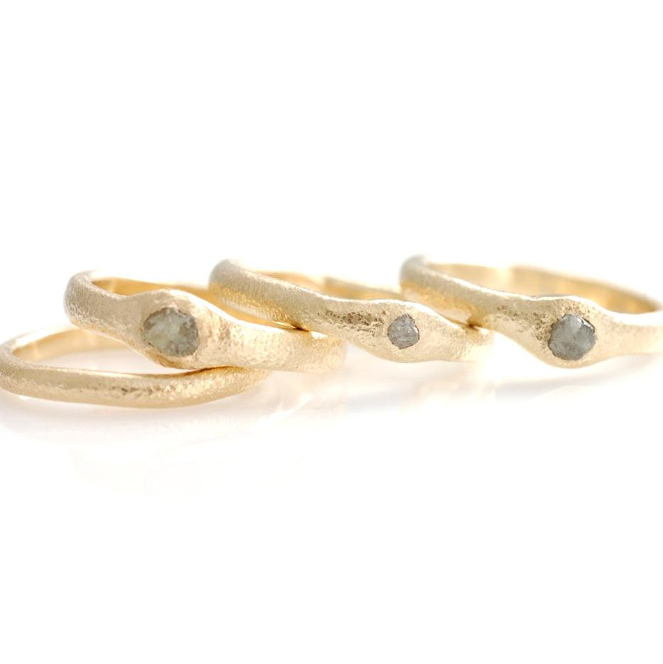 Sands Texture Rings in 14k yellow gold with rough diamonds - beach and nature rings by Beth C
