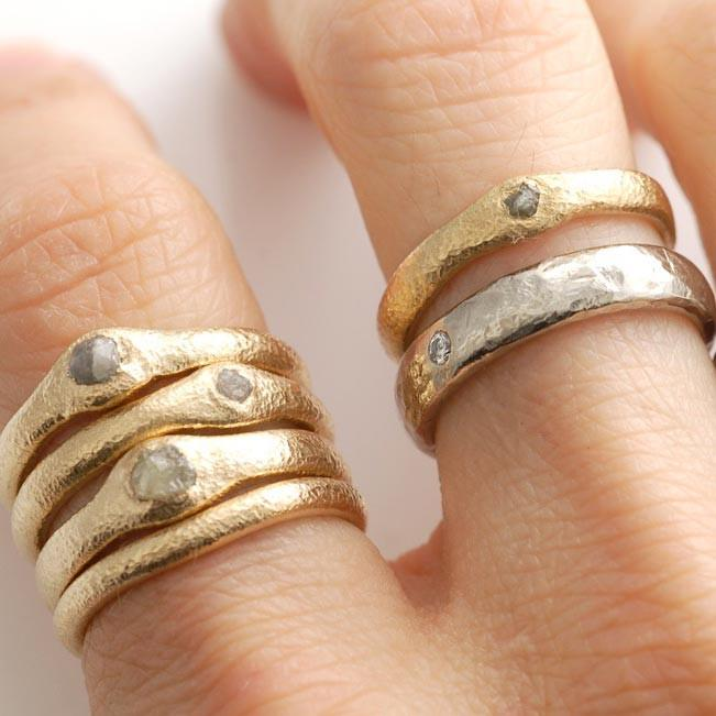 Sands of time Texture rings in 14k yellow gold and worn texture simplicity in palladium/silver alloy - nature inspired rings by Beth Cyr