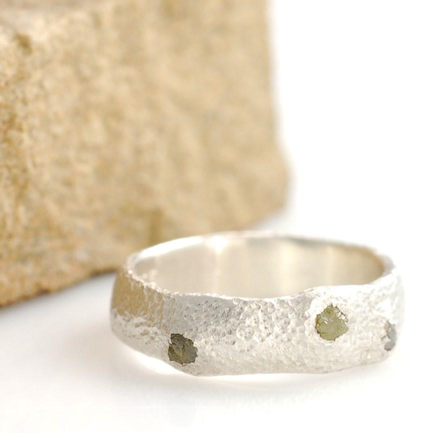 Sands Texture Ring in palladium sterling silver with rough diamonds - nature inspired rings by Beth Cyr