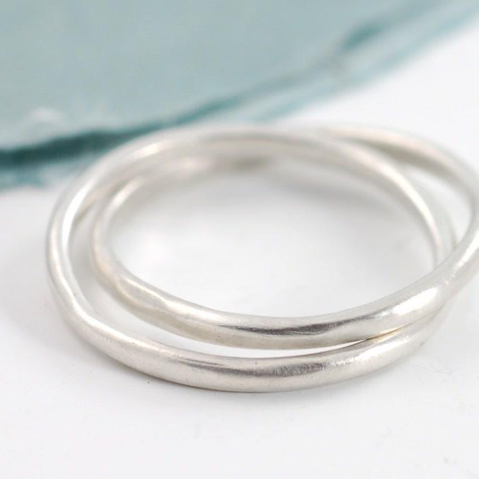 Intertwined simplicity rings in palladium sterling silver - custom designs by Beth Cyr