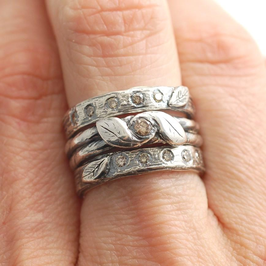 Custom Brown Diamonds in palladium sterling silver vine and leaf and tree bark motif - nature inspired wedding rings by Beth Cyr