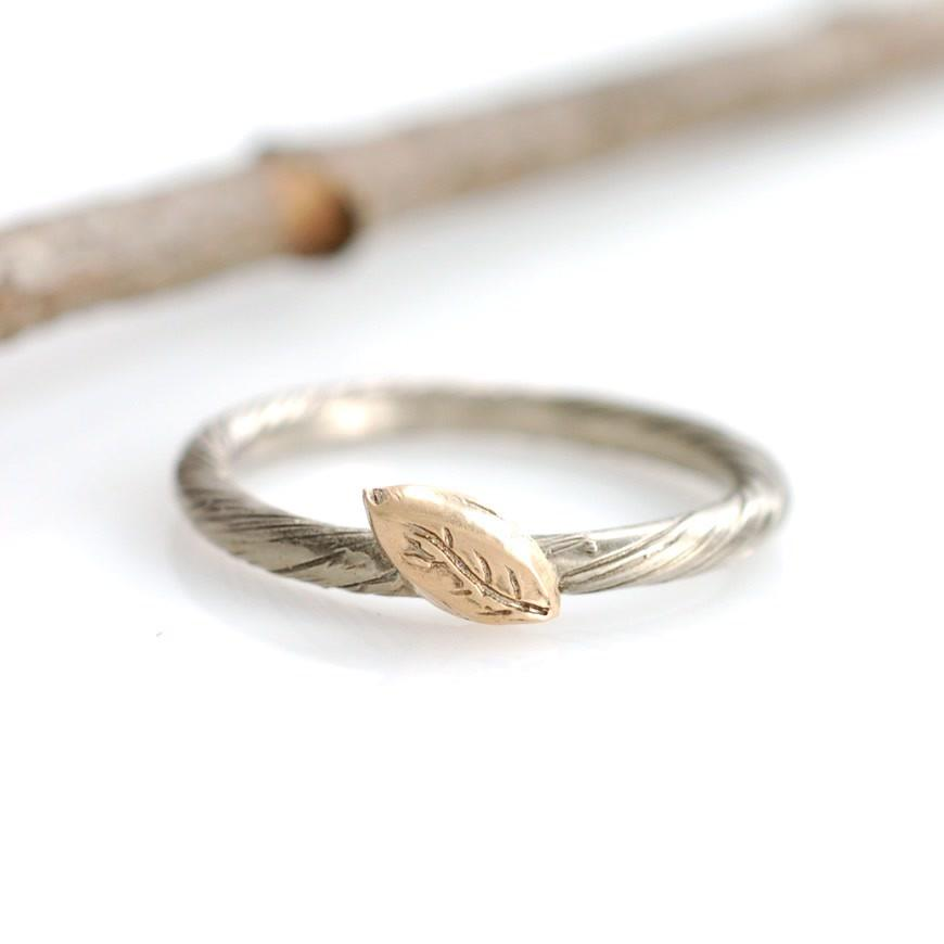 Yellow Gold leaf and palladium white gold vine band - nature inspired rings by Beth Cyr