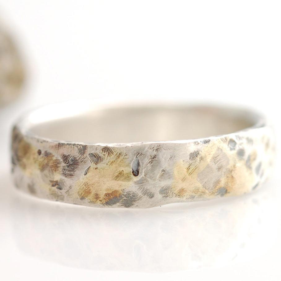 Granite texture ring with yellow gold, white gold and palladium sterling silver - nature inspired rings by Beth Cyr