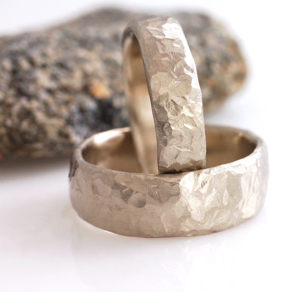 Love Rocks Texture Rings - wide versions in 14k palladium white gold - nature inspired wedding rings by Beth Cyr
