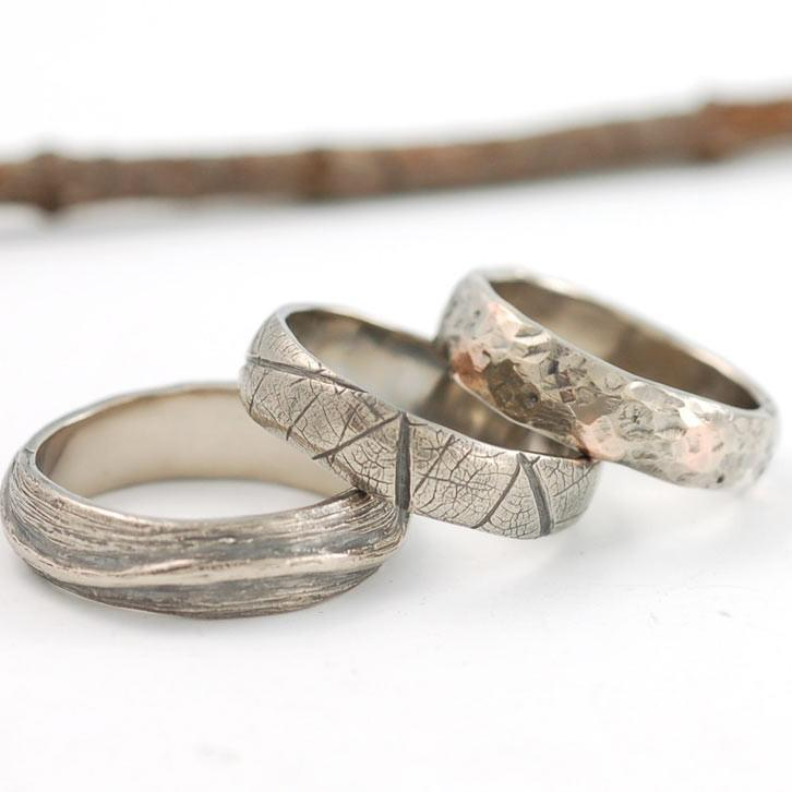 Palladium White gold Shadowed Vine, Leaf Imprint and granite texture ring with rose gold - nature inspired rings by Beth Cyr