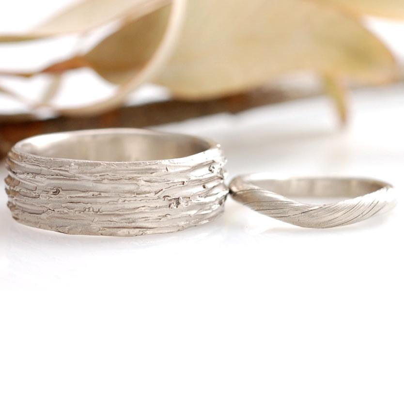 Tree Bark and Vine Ring in 14k palladium white gold - nature inspired wedding rings by Beth Cyr