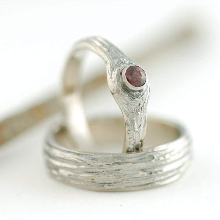 Custom 14k Palladium White gold Tree bark rings with ruby - nature inspired wedding and engagement rings by Beth Cyr