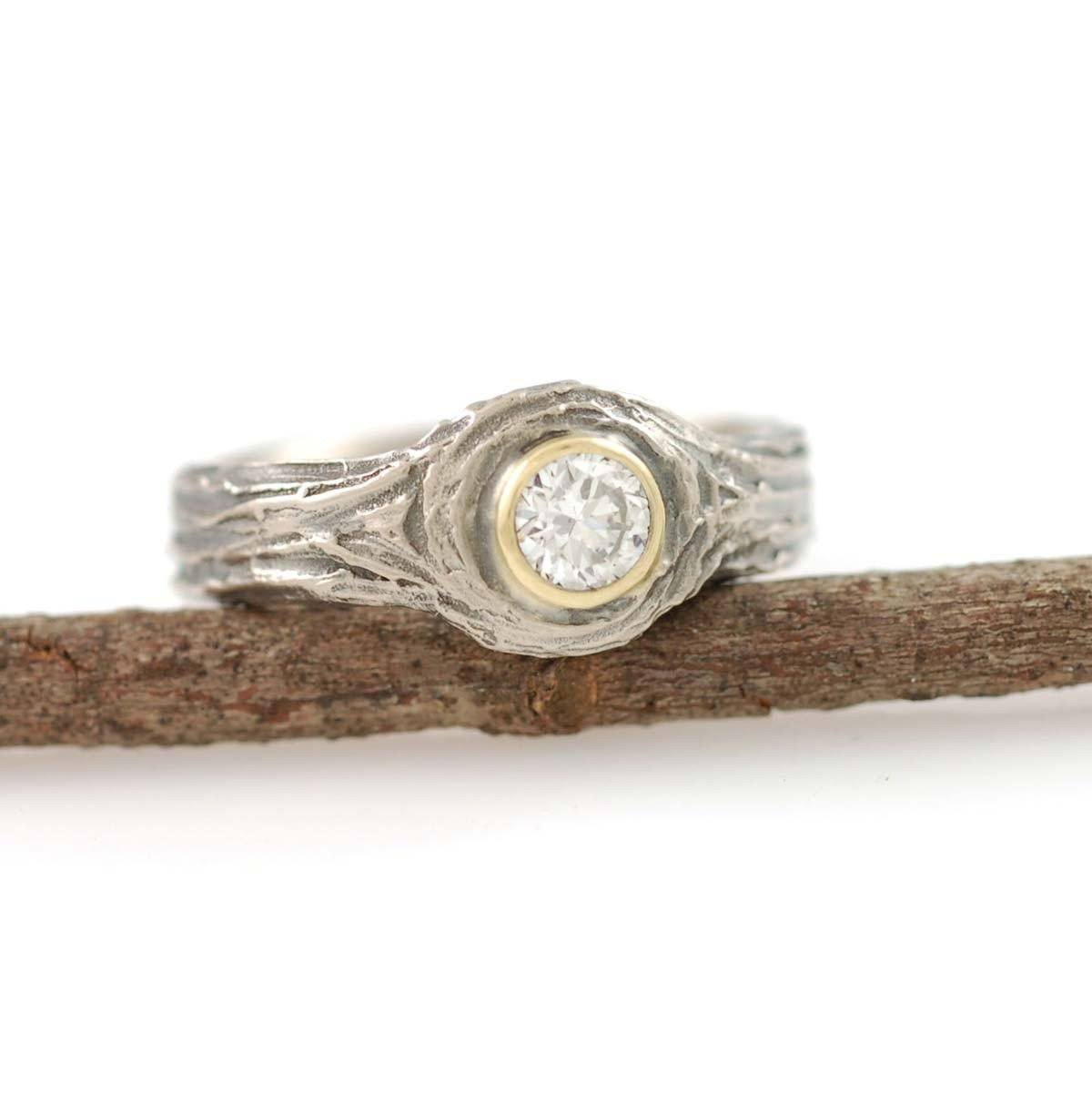 Love Knot Ring with Diamond and Yellow Gold Setting - Nature Inspired wedding ring by Beth Cyr