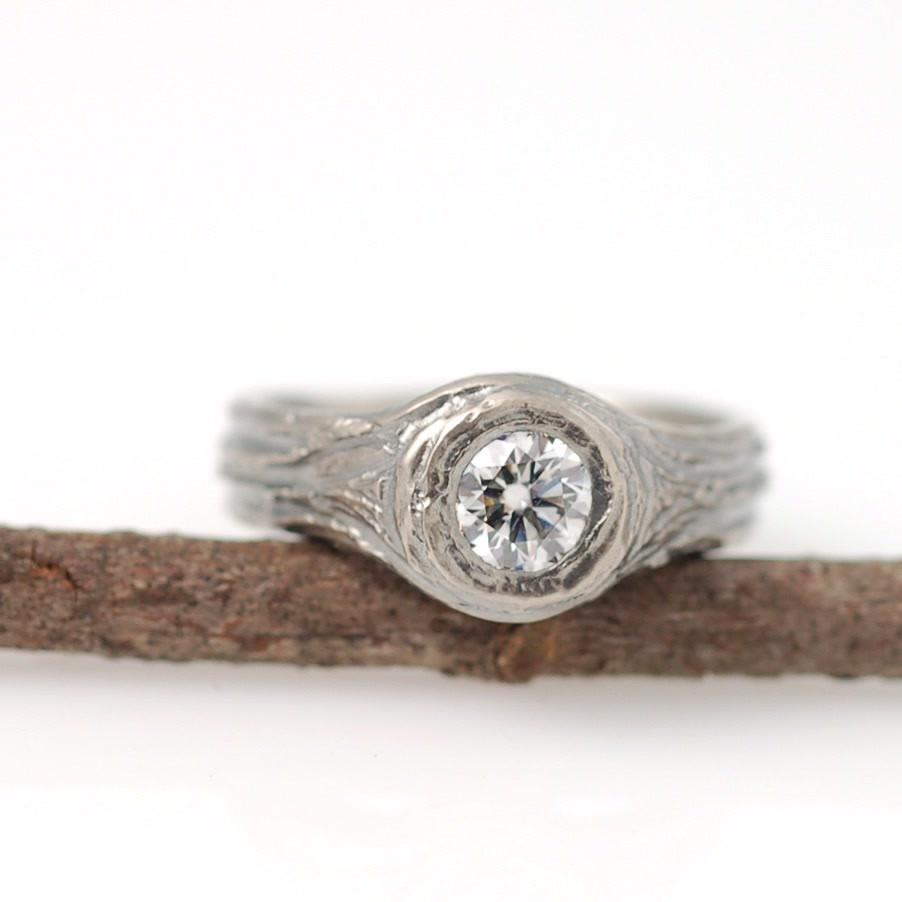 Custom Palladium white gold tree bark ring and diamond - nature inspired wedding ring by Beth Cyr