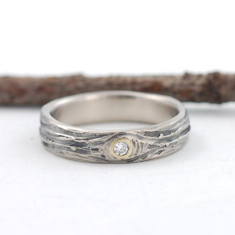 Custom Palladium White Gold with yellow gold setting and diamond - nature inspired wedding ring by Beth Cyr
