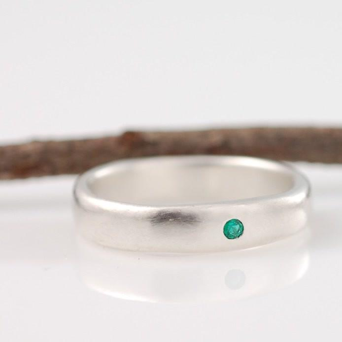 Custom Palladium Sterling silver Simplicity Band with emerald by artisan jeweler Beth Cyr