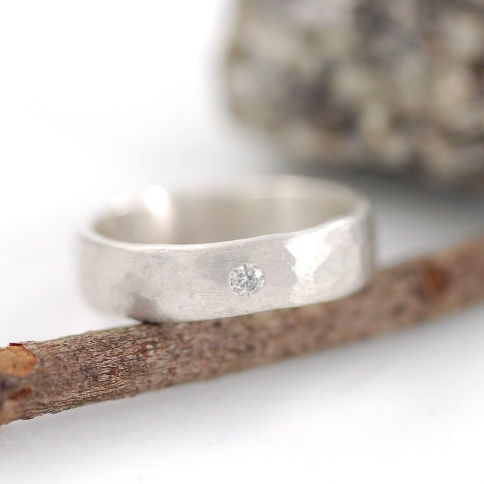 Custom Simple Hammered Band with Diamond by artisan jeweler Beth Cyr