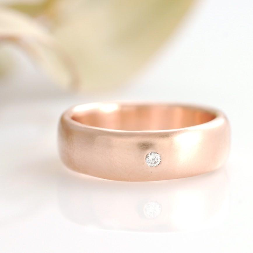 14k Rose gold Simplicity with diamond by artisan jeweler Beth Cyr