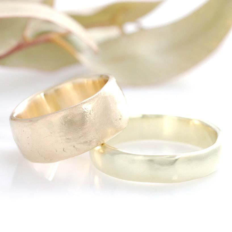 Custom Yellow Gold worn texture and green gold simplicity band by artisan jeweler Beth Cyr