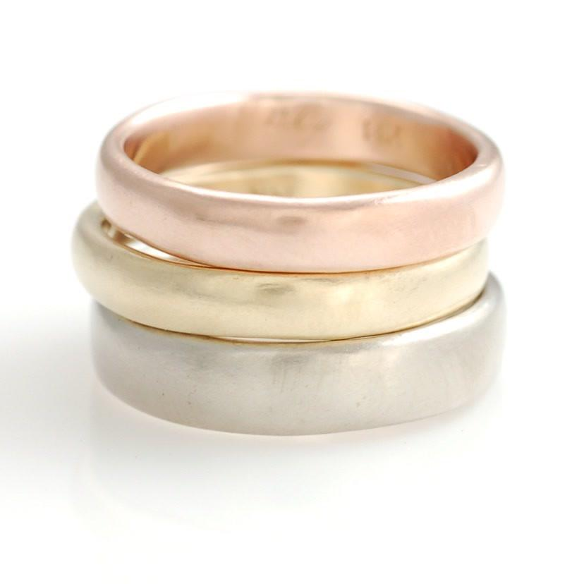 Simplicity Bands in 14k rose gold, yellow gold and palladium white gold by artisan jeweler Beth Cyr