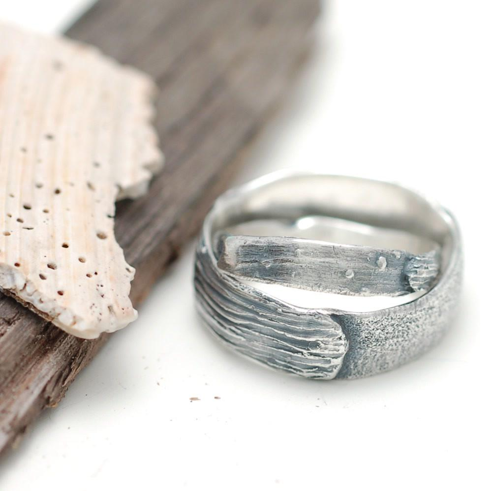 Land Sea and Sand Custom Order Rings - nature inspired wedding rings by Beth Cyr