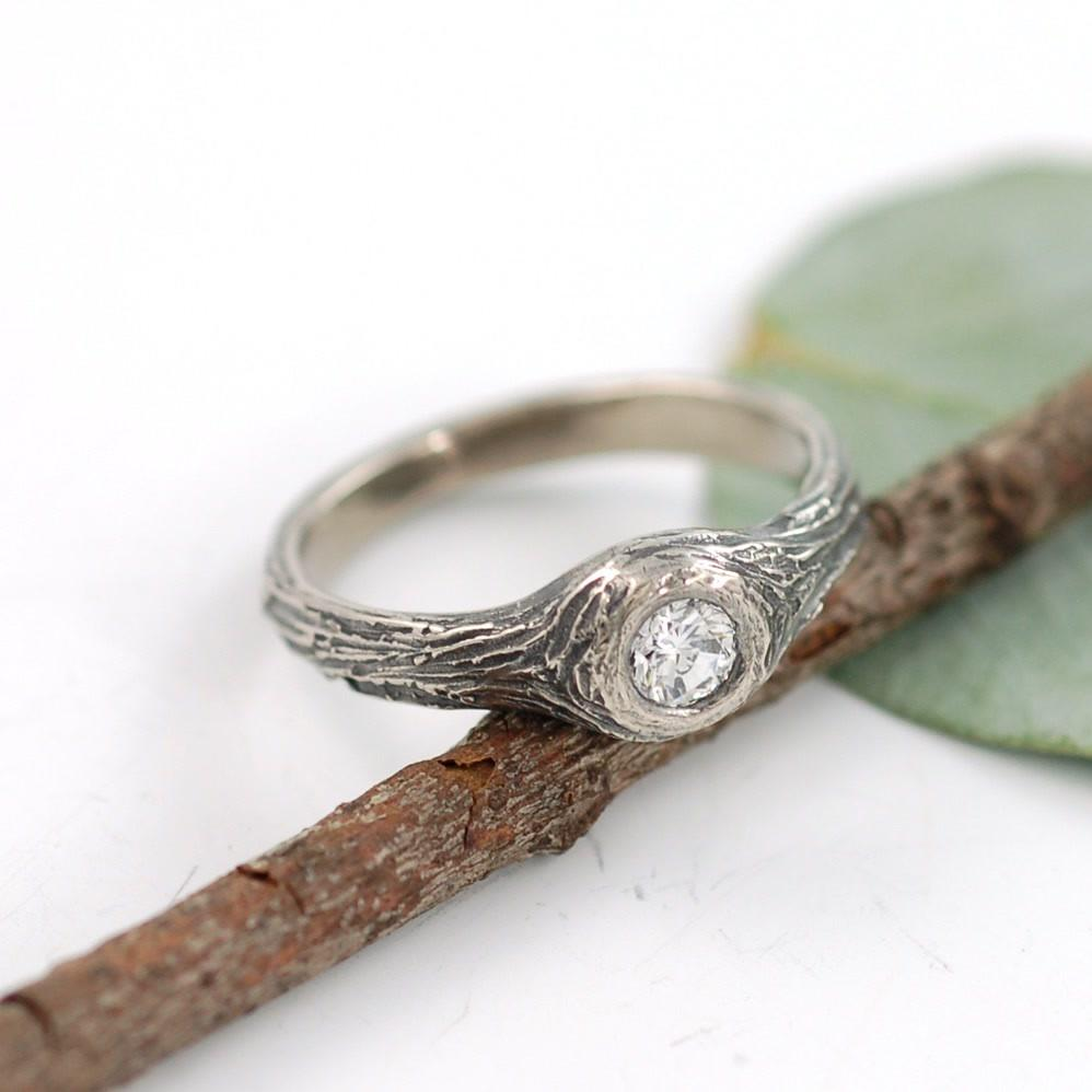 Custom palladium white gold tree bark ring and 3.7mm diamond - nature inspired wedding ring by Beth Cyr