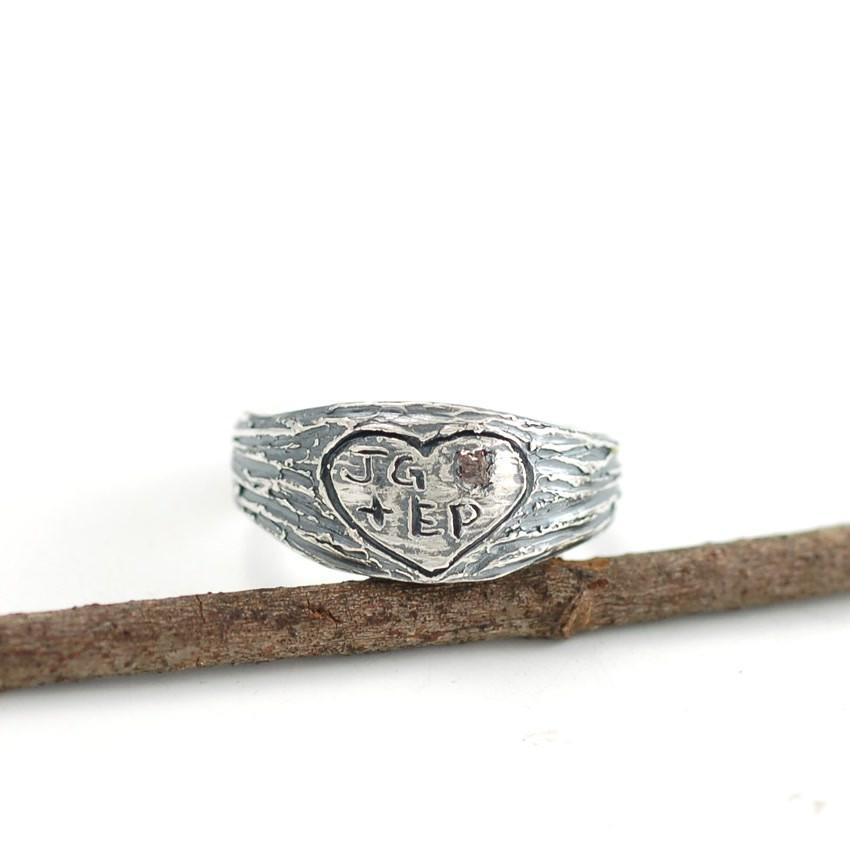 Tree Bark Initials in Heart Custom Order Ring with rough diamond in palladium sterling silver by Beth Cyr